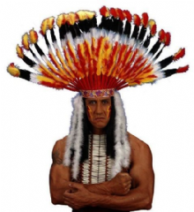 Deluxe Orange Feather American Indian Headdress